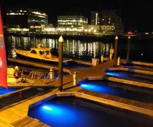 Crab Shell's dock at night (11 slips)