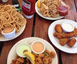 Popcorn Shrimp, Japepeno Poppers, Calamari and Onion Strings